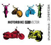 drawn 2 color motorbikes set.... | Shutterstock .eps vector #219895384