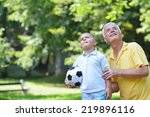 happy grandfather and child... | Shutterstock . vector #219896116
