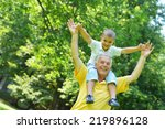 happy grandfather and child... | Shutterstock . vector #219896128
