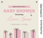 baby shower invitation. brown ... | Shutterstock .eps vector #219896980