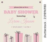 baby shower invitation. brown ... | Shutterstock .eps vector #219896980