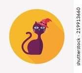 evil cat flat icon with long... | Shutterstock .eps vector #219913660