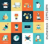 set of flat design icons for... | Shutterstock .eps vector #219913894