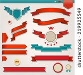 red ribbons set  isolated on... | Shutterstock .eps vector #219925549