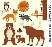 forest animals collection of... | Shutterstock .eps vector #219936610