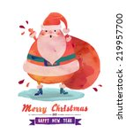watercolor santa   cute santa... | Shutterstock .eps vector #219957700