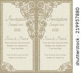 baroque invitation card in old... | Shutterstock .eps vector #219957880