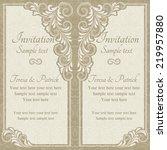 baroque invitation card in old... | Shutterstock .eps vector #219957880