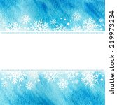 winter watercolor illustration. ... | Shutterstock .eps vector #219973234