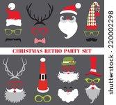 christmas retro party set  ... | Shutterstock .eps vector #220002298