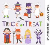 cute colorful halloween kids... | Shutterstock .eps vector #220011988