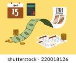 tax return concept. flat design.... | Shutterstock .eps vector #220018126