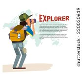 explorer  man with  telescope.... | Shutterstock .eps vector #220020619