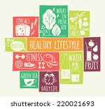 healthy lifestyle icons set  | Shutterstock .eps vector #220021693