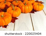 Autumn leaves and pumpkins forming a corner border against white wood - stock photo