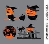 set of pumpkin head witch ... | Shutterstock .eps vector #220027366