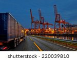 truck transport container on... | Shutterstock . vector #220039810