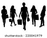 women shopping silhouette | Shutterstock .eps vector #220041979
