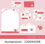 cute flower stationary design  | Shutterstock .eps vector #220044358