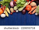 fresh organic vegetables on... | Shutterstock . vector #220053718