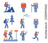 set of colored hiking icons... | Shutterstock . vector #220094563