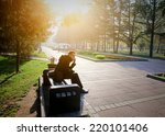 toned photo of young man with... | Shutterstock . vector #220101406