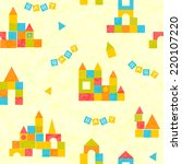 baby pattern with castle of... | Shutterstock .eps vector #220107220