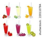 smoothies fruit on white... | Shutterstock .eps vector #220110784