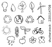 set of eco icons  hand drawn... | Shutterstock .eps vector #220114708