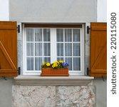 spanish window with open wooden ... | Shutterstock . vector #220115080