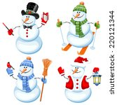 Set Of Cute Snowman In...