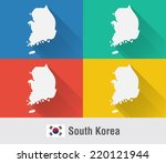 south korea world map in flat...