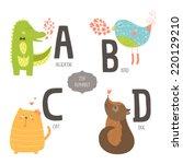 cute vector zoo alphabet with... | Shutterstock .eps vector #220129210