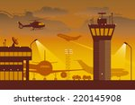 airport. airport at dusk.   Shutterstock .eps vector #220145908
