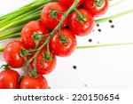 red cherry tomatoes on a branch ... | Shutterstock . vector #220150654