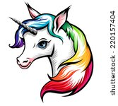 head of cute white unicorn with ... | Shutterstock .eps vector #220157404