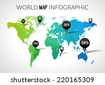 vector 3d world map with points ... | Shutterstock .eps vector #220165309