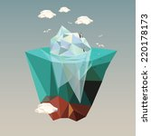 iceberg with penguins  low poly ... | Shutterstock .eps vector #220178173