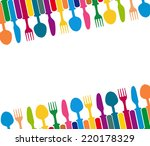 cutlery color background  menu... | Shutterstock .eps vector #220178329
