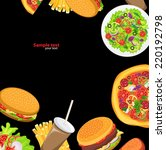 black background fast food | Shutterstock .eps vector #220192798