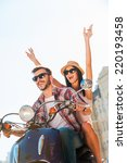 riding with fun. beautiful... | Shutterstock . vector #220193458