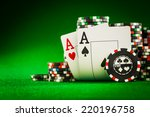 stack of chips and two aces on...   Shutterstock . vector #220196758