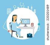 doctor looking at computer... | Shutterstock .eps vector #220201489