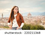 beautiful girl impressed view... | Shutterstock . vector #220211368