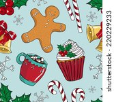 christmas sweets seamless... | Shutterstock .eps vector #220229233