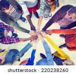 diverse and casual people and... | Shutterstock . vector #220238260