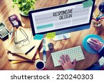 man working on a responsive web ... | Shutterstock . vector #220240303