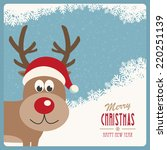 red nose reindeer santa hat... | Shutterstock .eps vector #220251139