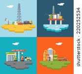 retro flat oil icons and... | Shutterstock .eps vector #220252534