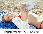 beautiful young tourist woman... | Shutterstock . vector #220266970
